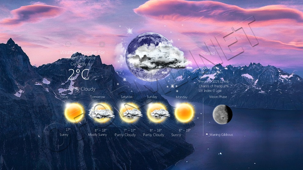 Realistic Weather Forecast 187 Скины для Rainmeter